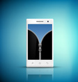 White Smartphone with zipper on the screen vector image