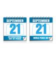 world peace day wall calendar set vector image