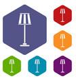 floor lamp icons set vector image