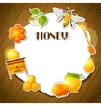 Background design with honey and bee stickers vector image