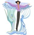 fashion flying man vector image vector image