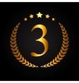 Third Place Gold Laurel Design Label vector image