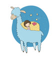 a sleeping girl and a cartoon lama vector image