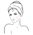 Beautiful young woman with towel vector image