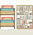 Flat Design Bunk Bed With Big Bookcase vector image