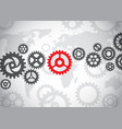 gears on the world background vector image