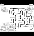 Maze activity game with girl and sweets vector image