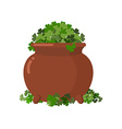 Pot and clover Boiler full Green clover Hoax fake vector image