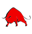 Red wild bull vector image