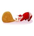 Santa pulls the bag concept vector image