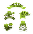 icons for save earth and nature ecology vector image