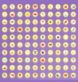 100 joy icons set in cartoon style vector image