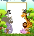 animal wildlife cartoon with blank sign and forest vector image