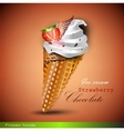 ice cream cone with strawberries vector image