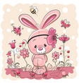 cute rabbit with on a pink background vector image