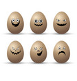 egg easter character cartoon emotion face set vector image
