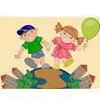 Girl and Boy Holding Hands vector image