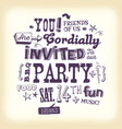 vintage party invitation poster with hand vector image