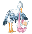 Stork with newborn baby isolated on white vector image vector image