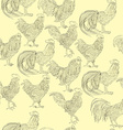 roosters doodles pattern vector image vector image