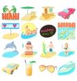 Miami travel icons set cartoon style vector image