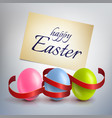 realistic colourful easter eggs with a red ribbon vector image