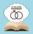 we are greeting married card with rings and bible vector image