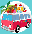 Summer theme with van loaded with things vector image vector image