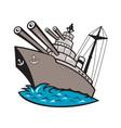 Warship Battleship Boat With Big Guns vector image