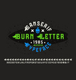 Sanserif font with flame initial letter vector image