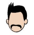 cartoon head man mustache faceless icon vector image