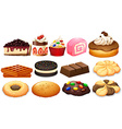 Dessert set with cake and cookies vector image