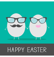 Egg easter couple with lips mustaches and eyeglass vector image