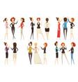 groups of businesswomen cartoon style set vector image
