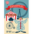 Vintage carnival or circus poste vector image vector image