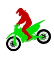 Black silhouettes Motocross rider on a motorcycle vector image