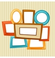 Set of color various frames on wall with wallpaper vector image