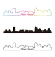 New Haven skyline linear style with rainbow vector image