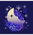 Moon with succulent design vector image