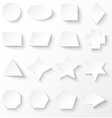 Set of white basic geometric shapes with shadow vector image