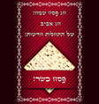 passover card with matza vector image vector image