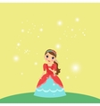 Beautiful cartoon princess on yellow background vector image