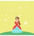 Beautiful cartoon princess on yellow background vector image