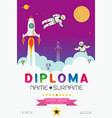 cartoon space diploma design vector image