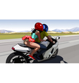 Couple riding a motorcycle on the road out of town vector image