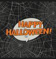 halloween postcard spider web and greetings art vector image