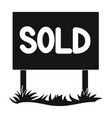 signboard-soldrealtor single icon in black style vector image