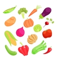 Vegetable icons set cartoon style vector image