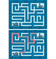 Easy whale maze vector image