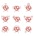 Heart power set health cardio vector image